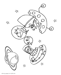 Keeping with that theme, we are here with a collection of free printable space coloring pages. Astronaut And The Alien In Outer Space Coloring Pages Printable Com
