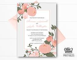 Wedding Invitation Template Personalised Peachy Floral Wedding Invitation