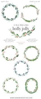 Watercolor Christmas Wreath Clipart Christmas Card Templates 5x7 A4