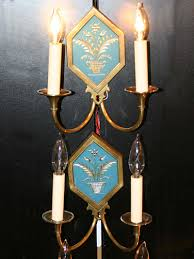 pair of neoclassical style wall sconces w blue glass gold etching c