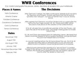 Ppt Wwii Conferences Cut Match And Paste The Places