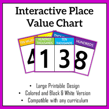 One Hundred Chart Interactive Bright Place Value Chart Interactive Classroom Decor