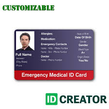 Emergency Card Template Stay Safe With This Emergency Medical Id Card From Idcreator