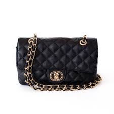 Rita Black Quilted Bag with Gold Chain Strap | Beehola & Rita Black Quilted Bag with Gold Chain Strap Front Adamdwight.com