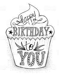 Cake Pencil Sketch Birthday Cake Small Word Love Stock Illustration