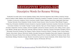 Best Words For Resume Extraordinary Descriptive Words List Of Adjectives For Resumes SelfDescriptive