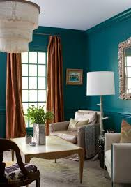 View In Gallery Striking Teal Room With Teal Trim