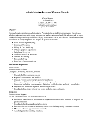 Samples Of Resumes For Administrative Assistant Sample Resume Receptionist Administrative Assistant Httpwww 1
