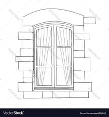 vintage window drawing. vintage window vector image drawing e