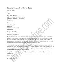 Sample Farewell Letter To Boss For Bidding A Formal Goodbye From