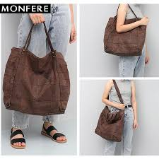 monfere vintage leather women big tote bags real leather messenger shoulder bags female large quilted woman bag genuine italian leather handbags luxury