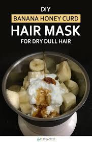 how to make diy banana honey curd hair mask for dry dull hair