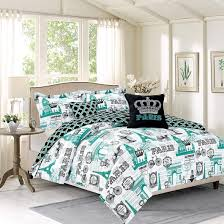 bedding queen piece girls comforter set paris selection and style teen eiffel tower teal blue home
