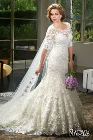 fit and flare wedding dress with sleeves. mary\u0027s bridal 2016 - lace fit and flare wedding gown with half sleeves. dress sleeves s