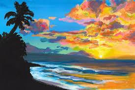 saatchi art artist michal abramovitz painting sunset at sunset beach north s