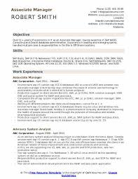 Associate Manager Resume Samples Qwikresume
