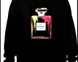 chanel hoodie. chanel bottle inspired print hoodie m/l with hand painted details