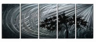extra large 5 part handpainted moonlight shimmer on aluminium on aluminium wall art panels uk with large aluminium wall art panels