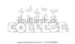 Word College Sketch Little People Word College Doodle Stock Vector Royalty Free