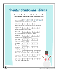 Winter Word Puzzle & Compound Words Vocabulary Worksheets - Woo ...