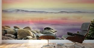 purple sunset at the lake wall murals