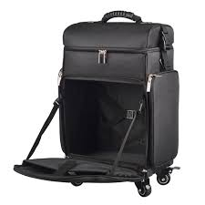 nylon professional artist rolling wheeled trolley makeup train case cosmetic rolling makeup case with pouches in black