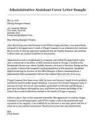 Assistant Cover Letter Sample Sample Cover Letter For Administrative Assistant Administrative