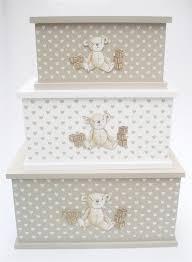teddy bear wooden home baby nursery kids bedroom toy box storage chest trunk