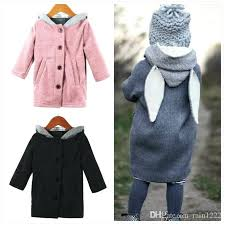 winter coats on clearance spring autumn children hooded girls boys rabbit ears design overcoats outwear kids