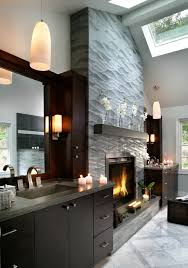 fireplace mantel lighting. Fireplace-mantel-shelf-Bathroom-Contemporary-with-cathedral-ceiling- Fireplace-in-bathroom-gray-countertop-pendant-lights Fireplace Mantel Lighting