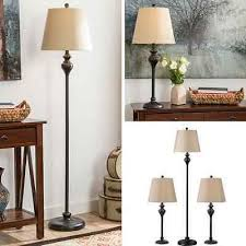 table floor lamp set vintage bronze contemporary lamps shade living room pair 3