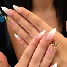 French Tip Stiletto Nail Designs Ombre French Airbrush Nails French Stiletto Nails Almond