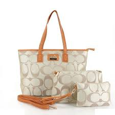 Coach Totes In Signature Three In Set Apricot