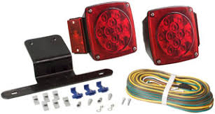 optronics inc tll9rk waterproof led trailer light kit includes 2 led stud mount tail lights red side markers reflectors license bracket 25 ft wiring harness