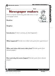 Newspaper Front Page Blank Template Newspaper Report Template Unique Article News Ks2 Tes