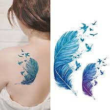 Colorful Arrows Flash Feathers Fake Tattoo Women Large Waterproof Temporary Tattoo Stickers