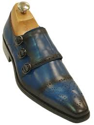 fiesso mens blue black grant leather perforated triple monk strap dress shoe