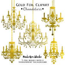 80 off gold foil chandelier clipart by paulakimstudio
