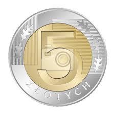 Znalezione obrazy dla zapytania moneta pięć złotych stos