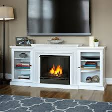 real flame 7740 w frederick tv stand w ventless gel fireplace in white
