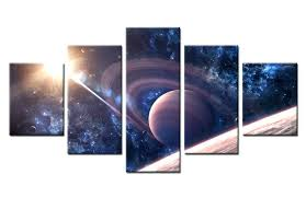 solar system wall art original oil ink print painting canvas 5 panels in home decor calligraphy from gar on 3d solar system wall art decor with wall arts solar system wall art original oil ink print painting
