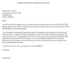 sample letter employee retirement letters samples letter employee sample latest print yet
