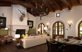 ... Living Room In Spanish With White Wall And Carpet And Fireplace And  Door ...