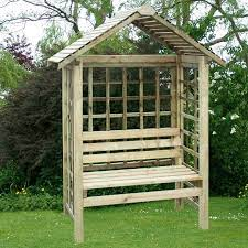 casandra arbour seat sheltered wooden