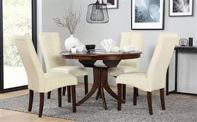 dark wood dining room furniture. hudson round dark wood extending dining table with 6 logan ivory chairs room furniture