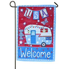 always at home patriotic welcome garden flag