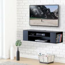 48 wall mount tv stand entertainment center storage cabinet floating shelf black for