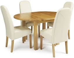 dutton oak round extending dining set with 4 marlow cream faux leather chairs