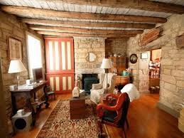 Rustic Living Room Decor Very Popular Low Wooden Plafond Over Old Fashions Furnishings