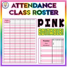 Pink Class Roster Attendance Sheet Chart Editable